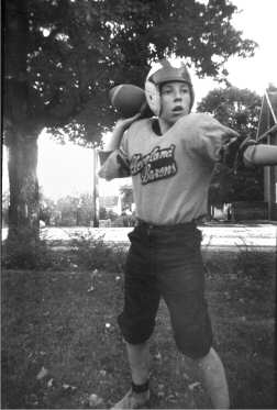 Ross Jamieson in quarterback pose c 1960